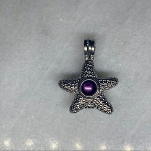 Silver Authentic Oyster Pearl Starfish Charm